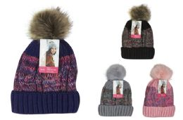 24 Units of Ladies Fur Lined Pom Pom Hat - Winter Beanie Hats