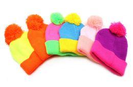 48 Units of Ladies Pom Pom Hat - Winter Beanie Hats