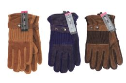 24 Units of Ladies Suede Knit Gloves - Winter Gloves