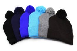 48 Units of Mens Pom Pom Hat - Winter Beanie Hats