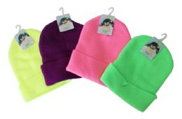 48 Units of Neon Stocking Cap - Winter Beanie Hats