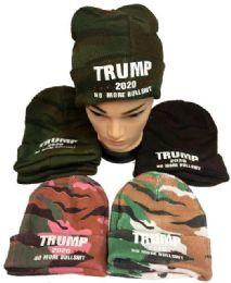 24 Units of Trump 2020 No More Bullshit Camo Beanie Hat - Winter Hats