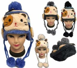 24 Units of Kids Knitted Winter hat CAT - Winter Animal Hats