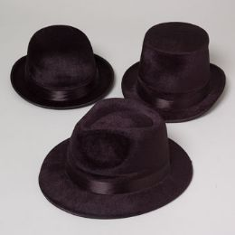 36 Units of 3 Assorted Black Hats - Costumes & Accessories