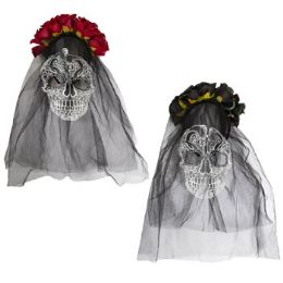 18 Units of Day Of The Dead Floral Headband Veil - Costumes & Accessories