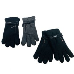 24 Units of Men's Extra Warm Fleece Gloves with Zipper Pocket - Ski Gloves