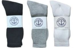 360 Units of Yacht & Smith Men's Cotton Crew Socks Set Assorted Colors Black, White Gray Size 10-13 - Sock Care Sets