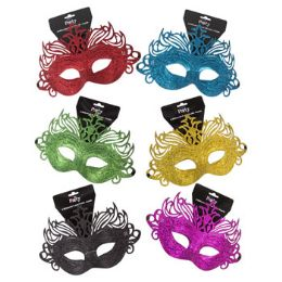 48 Units of Glittered Carnivale Mask - Costumes & Accessories