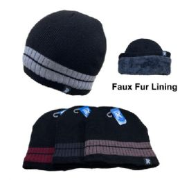 12 Units of Plush-Lined Knit Beanie [Solid Color with Stripes] - Winter Beanie Hats