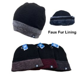 12 Units of Solid Top/Variegated Edge Plush-Lined Knit Beanie - Winter Beanie Hats