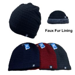 12 Units of Plush-Lined Knit Beanie - Winter Beanie Hats