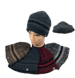 12 Units of Solid Stripes Plush-Lined Knit Beanie - Winter Beanie Hats