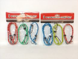 72 Units of BUNGEE CORD 3 PIECE SET ASSORTED COLOR - Bungee Cords