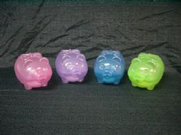 24 Units of Plastic Piggy Bank Trasparent - Coin Holders & Banks