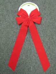 48 Units of Christmas Bow Velvet Red Large - Christmas Decorations