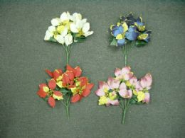 288 Units of Christmas Flower With Golden Leaves - Christmas Decorations