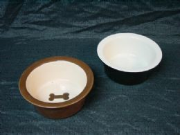 12 Units of Ceramic Pet Bowl Large Assorted Designs And Shapes - Pet Chew Sticks and Rawhide