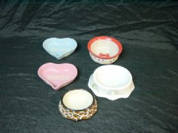 24 Units of Ceramic Pet Bowl Small Assorted Designs And Shapes - Pet Chew Sticks and Rawhide