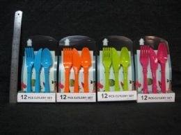 48 Units of PLASTIC 12 PIECE CUTLERY SET TIE ON CARD - Party Paper Goods