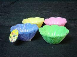 36 Units of Plastic 4 Piece Bowl Set Flower Shape - Plastic Bowls and Plates