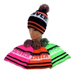 24 Units of Denver Pom Pom Knit Hat - Winter Beanie Hats