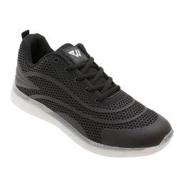 12 Units of Men's Casual Athletic Sneakers In Black - Men's Sneakers