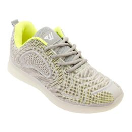 12 Units of Men's Casual Athletic Sneakers In Neon L. Grey - Men's Sneakers