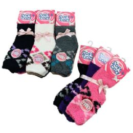 24 Units of Women's Diamond Pattern Soft & Cozy Fuzzy Socks - Womens Fuzzy Socks