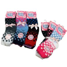 24 Units of Women's Polka Dot Soft & Cozy Fuzzy Socks - Womens Fuzzy Socks