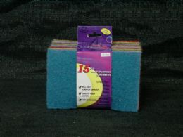 36 Units of 15 Piece Scouring Pads Colors - Scouring Pads & Sponges