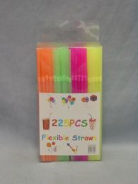 36 Units of 225 Piece Flex. Straw Neon Color In Box - Straws and Stirrers