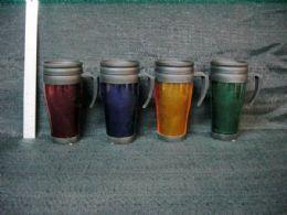 24 Units of Plastic Car Mug 12 Ounce Assorted Colors - Coffee Mugs