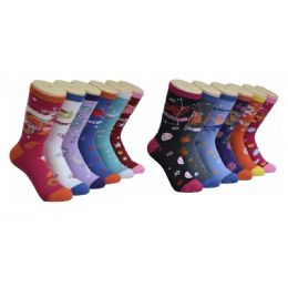 360 Units of Women's Zodiac Print Crew Socks Size 9-11 - Womens Crew Sock