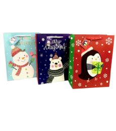 144 Units of Large Matte Christmas Gift Bag - Christmas Gift Bags and Boxes