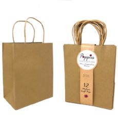 30 Units of 12 Count Medium Brown Craft Bag With Band - Gift Bags