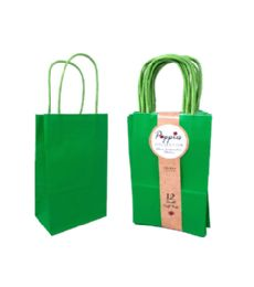 30 Units of 12 Count Small Green Craft Bag With Band - Gift Bags