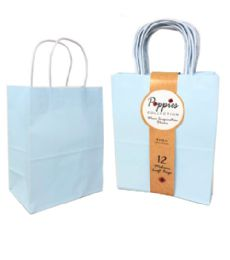 30 Units of 12 Count Medium Light Blue Craft Bag With Band - Gift Bags