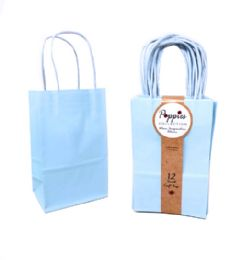 30 Units of 12 Count Small Light Blue Craft Bag With Band - Gift Bags