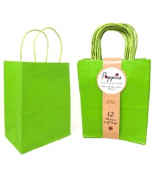 30 Units of 12 Count Medium Lime Green Craft Bag With Band - Gift Bags