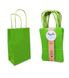 30 Units of 12 Count Small Lime Green Craft Bag With Band - Gift Bags