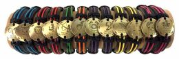 48 Units of Gold color Zodiac Faux Leather Bracelet - Bracelets