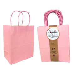 30 Units of 12 Count Medium Light Pink Craft Bag With Band - Gift Bags
