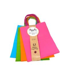 30 Units of 12 Count Medium Neon Craft Bag With Band - Gift Bags