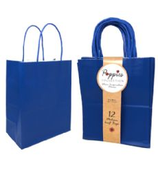 30 Units of 12 Count Medium Royal Blue Craft Bag With Band - Gift Bags