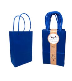 30 Units of 12 Count Small Royal Blue Craft Bag With Band - Gift Bags