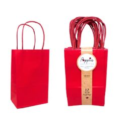 30 Units of 12 Count Small Red Craft Bag With Band - Gift Bags