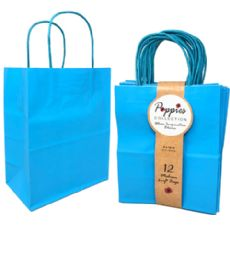 30 Units of 12 Count Medium Turquoise Craft Bag With Band - Gift Bags