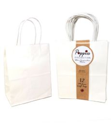 30 Units of 12 Count Medium White Craft Bag With Band - Gift Bags