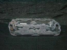 36 Units of CLEAR TRAY ROSE RECTANGLE PLATE - Serving Trays