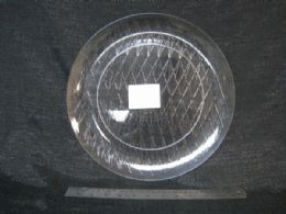 36 Units of Plastic Clear Tray Round Diagonal Lines - Serving Trays
